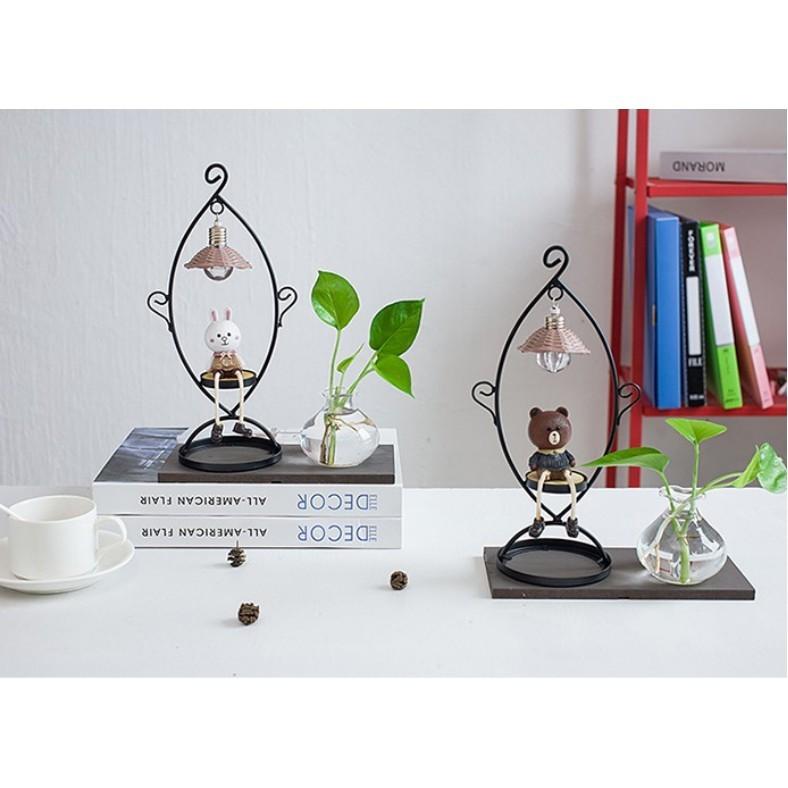 一件免運花瓶 水培花瓶 玻璃透明布朗熊可妮兔 裝飾品 臥室 女生日禮物 創意家居擺件