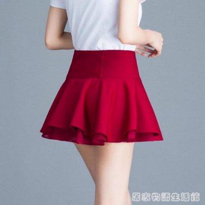 新款高腰彈力百褶雪紡超短裙半身裙A字褲裙顯瘦防走光打底裙 零點距離
