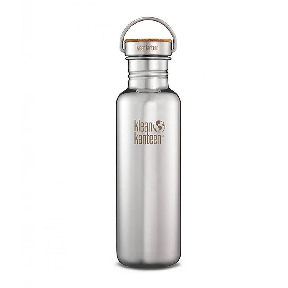 美國Klean Kanteen不鏽鋼冷水瓶800ml-鏡面鋼(竹片鋼蓋)