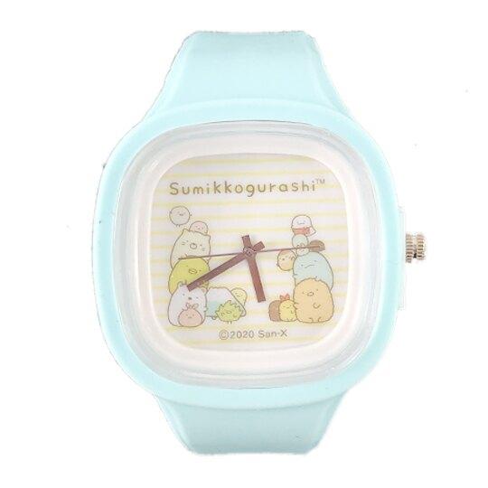 小禮堂 角落生物 矽膠錶帶方框兒童手錶 休閒腕錶 運動手錶 盒裝 (綠黃 橫紋)