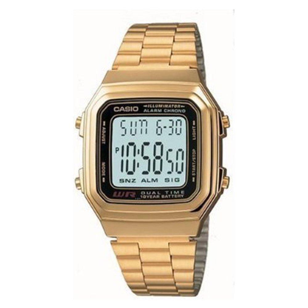 【CASIO卡西歐】時尚都會數字錶-金色 (A-178WGA-1A)