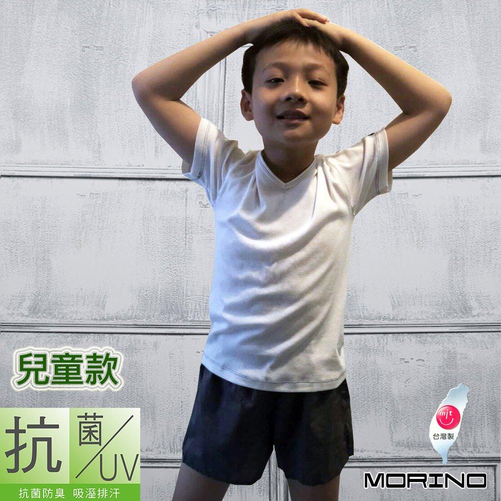 【MORINO摩力諾】台灣製兒童抗菌防臭速乾短袖衫-白色