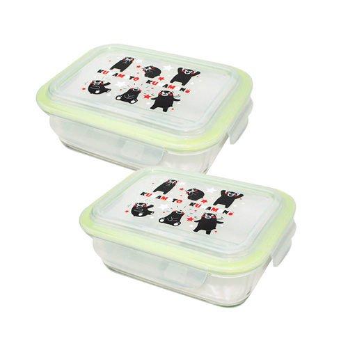 【KUMAMON】熊本熊長方形玻璃保鮮盒二入