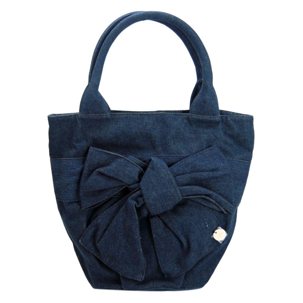 agnes b牛仔帆布蝴蝶結飾手提包(藍)