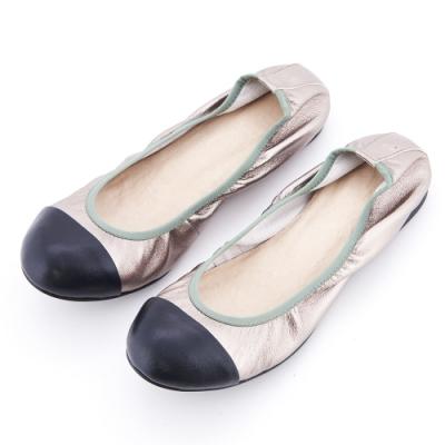 G.Ms. 小香風素面撞色拼接羊皮平底娃娃鞋-銀色