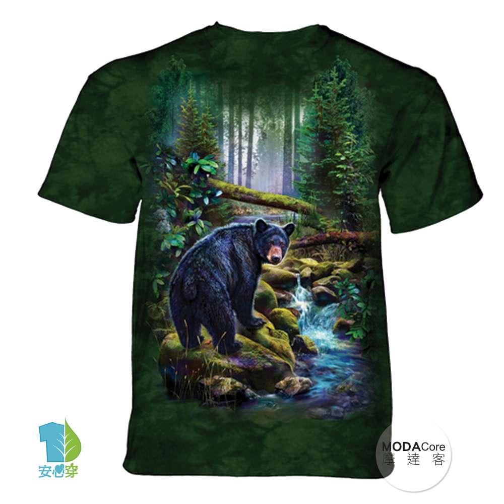 摩達客-(預購)美國進口The Mountain 黑熊之森 純棉環保藝術中性短袖T恤-3XL