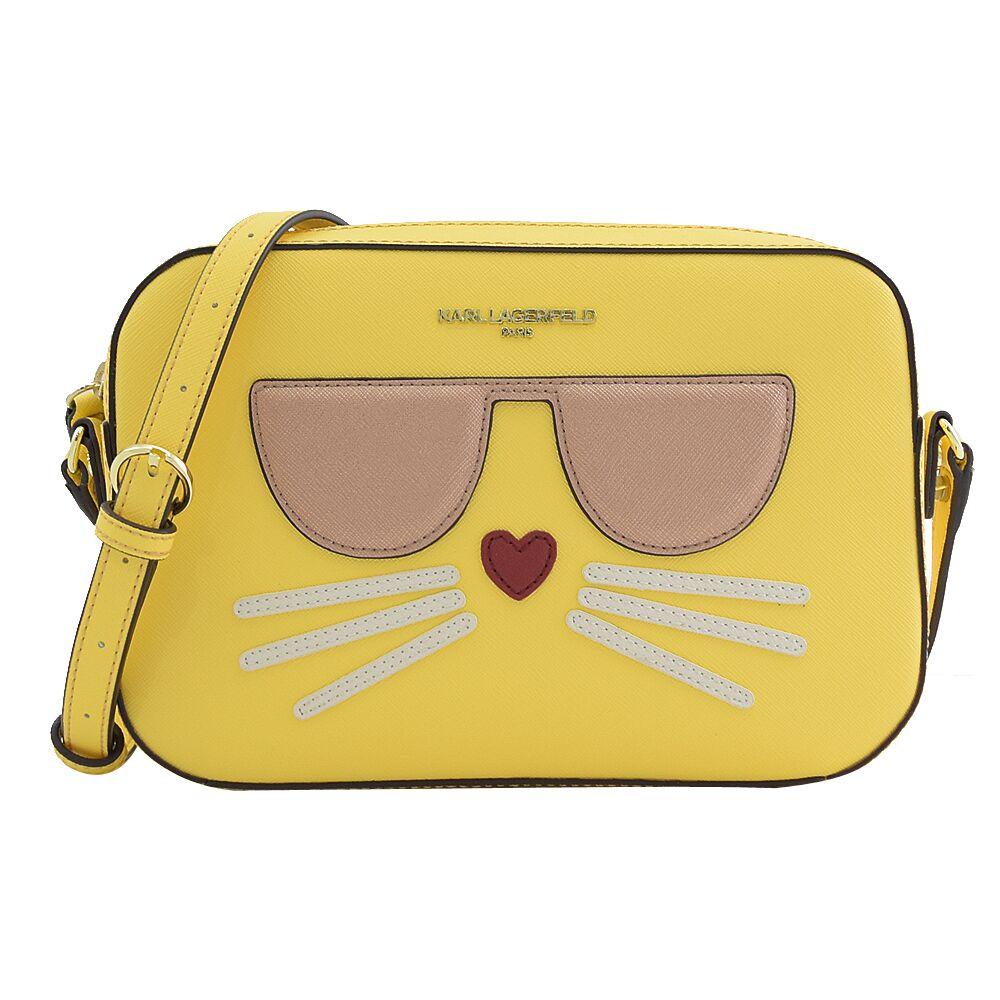 KARL LAGERFELD 卡爾 專櫃商品 墨鏡貓咪造型方型斜背包.黃
