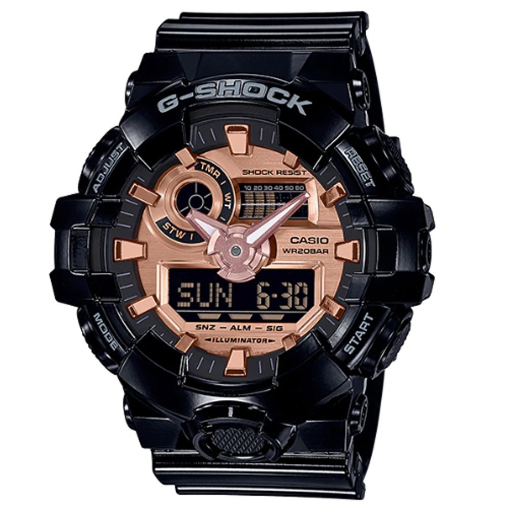 【CASIO 卡西歐】G-SHOCK潮流雙顯男錶 橡膠錶帶 黑X玫瑰金 防水200米(GA-700MMC-1A)