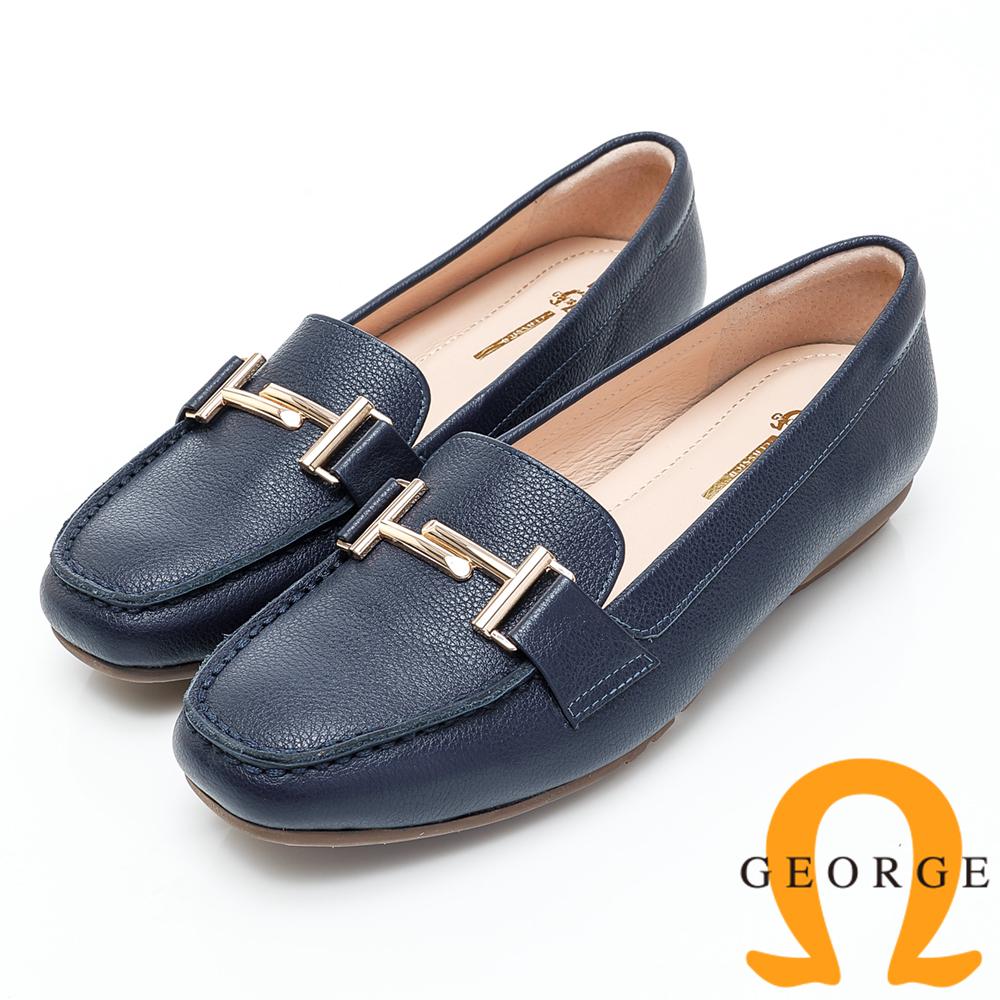 GEORGE 喬治-高質感釦飾素面平底包鞋-藍色 934003CU-98