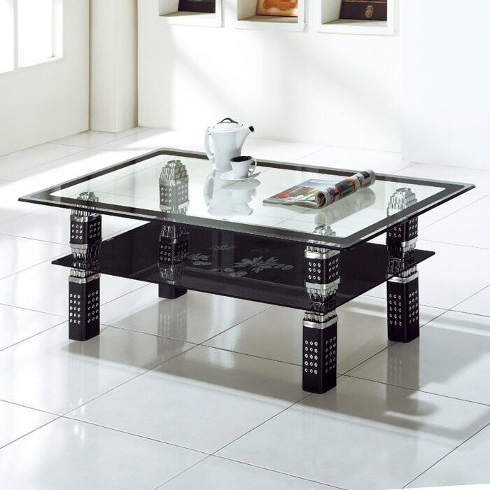 優比傢俱生活館20 樂樂購-y-154骰子黑色4尺印花玻璃大茶几 jl170-1