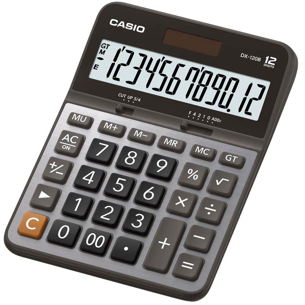 CASIO卡西歐 12位數大螢幕商務實用桌上型計算機-黑x灰-(DX-120B)