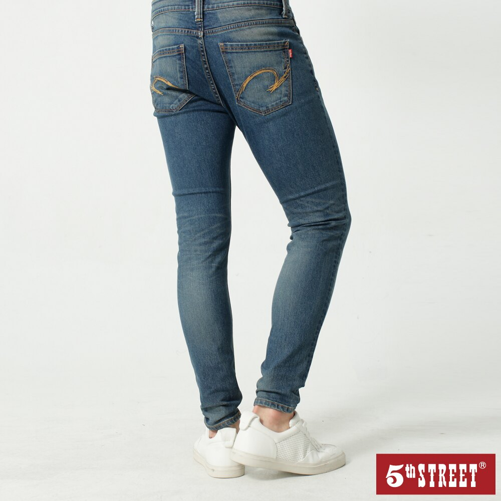 【5th STREET】男機能恆溫小腳褲-石洗藍