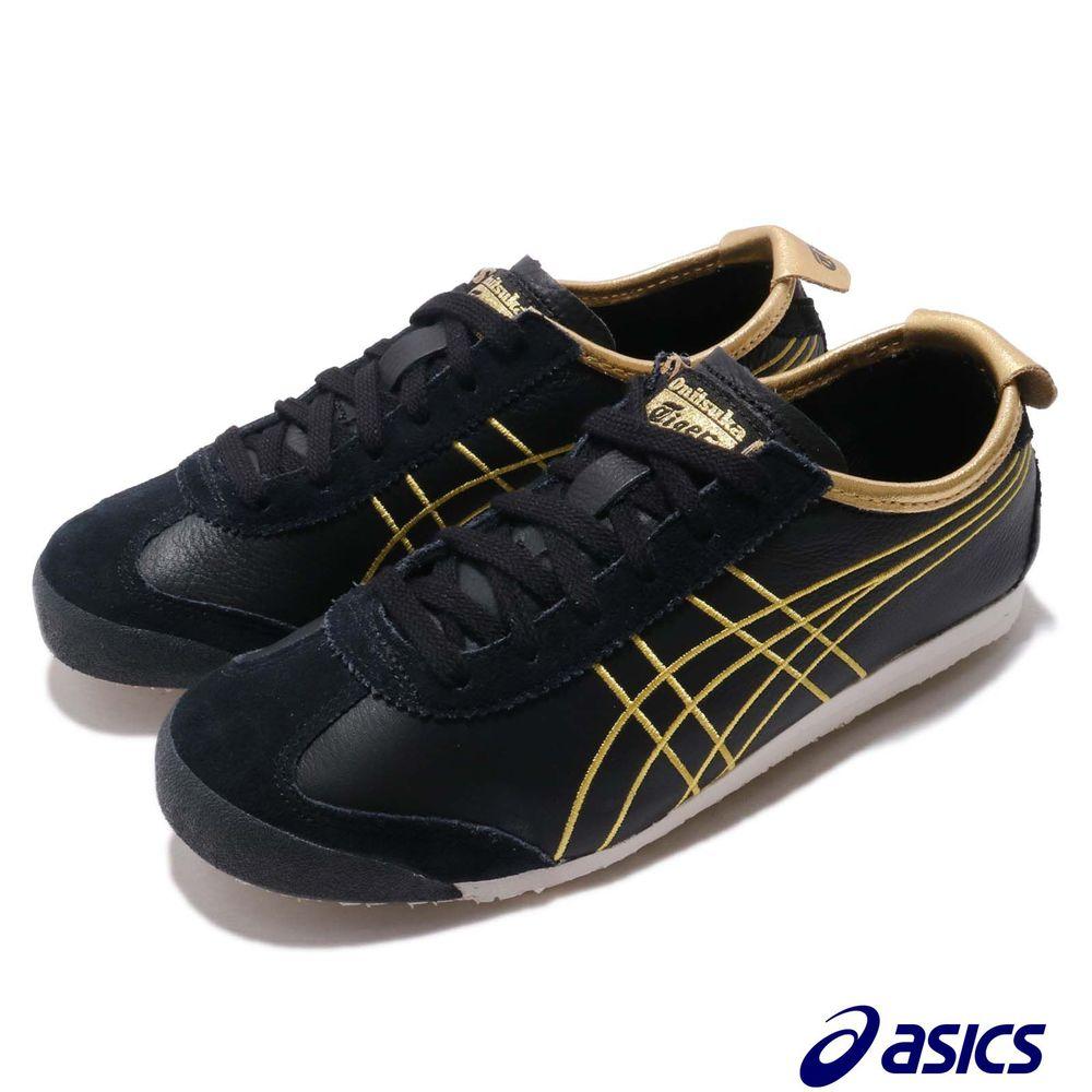 ASICS 休閒鞋 Mexico 66 OT 鬼塚虎 男鞋 亞瑟士 復古 低筒 皮革 麂皮 低筒 黑 金 [1183A349001]