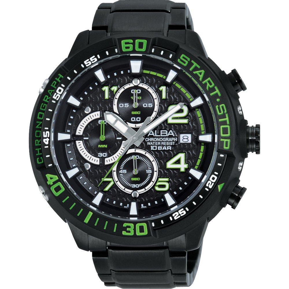 ALBA 雅柏 SignA 疾速奔馳計時腕錶-黑x綠/49mm  VD57-X016G(AM3101X1)