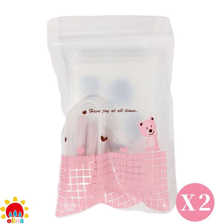 MOM'S olina SOFF 口罩減壓護套-乾燥玫瑰+收納夾~ 媽咪小粉熊組-2組