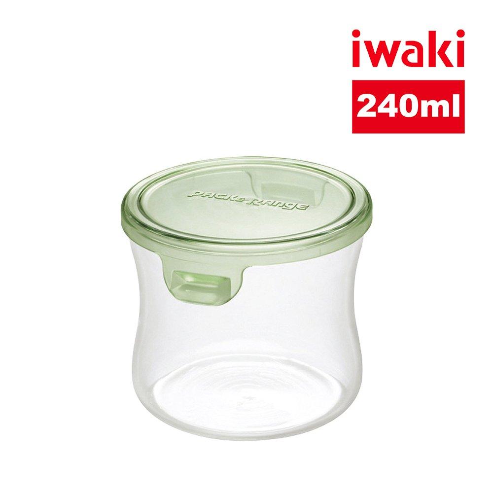 【iwaki】日本耐熱抗菌玻璃圓形微波保鮮盒240ml-綠