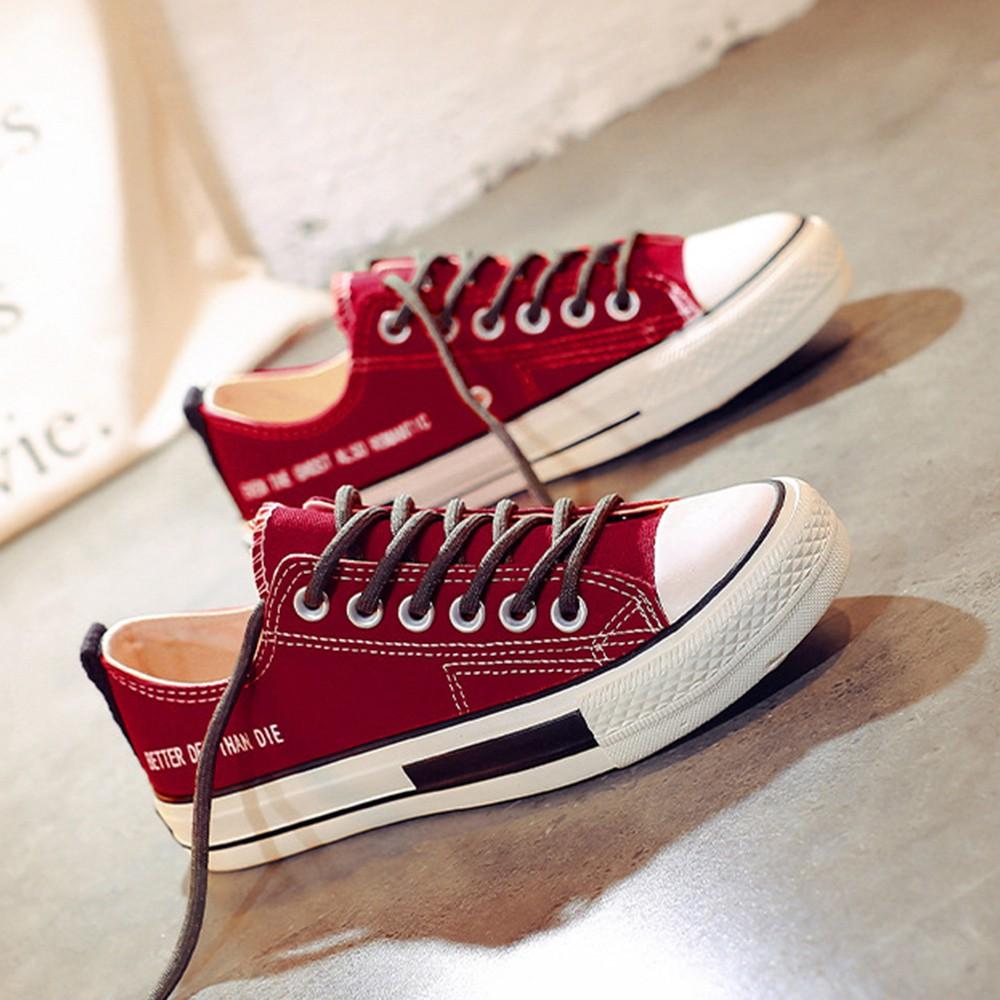 X-INGCHI 女款紅色英倫風低筒帆布鞋-NO.X0234
