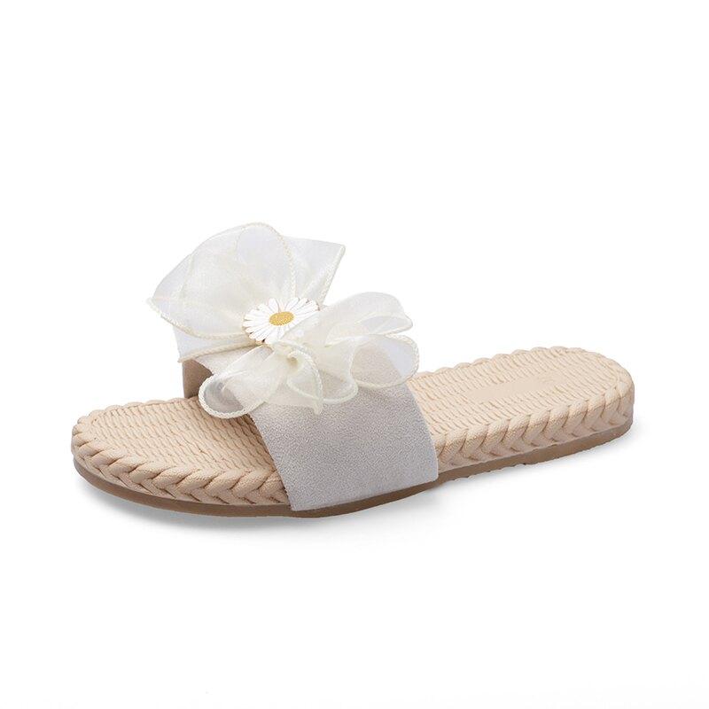 網紅涼拖女夏外穿2020新款時尚百搭小雛菊拖鞋女平底季一字帶涼鞋