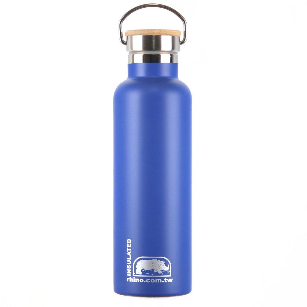 犀牛RHINO Vacuum Bottle雙層不銹鋼保溫水壺(竹片蓋)750ml-莓藍
