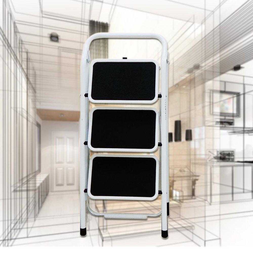 金德恩 台灣製造 全鋼鐵加大止滑腳踏板 三階扶手平台折疊梯/樓梯/階梯/關節梯/單梯