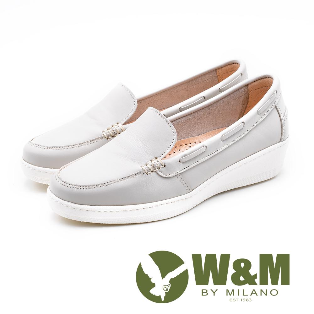 W&M 縫線細節 樂福鞋 休閒女鞋-淺灰(另有黑)