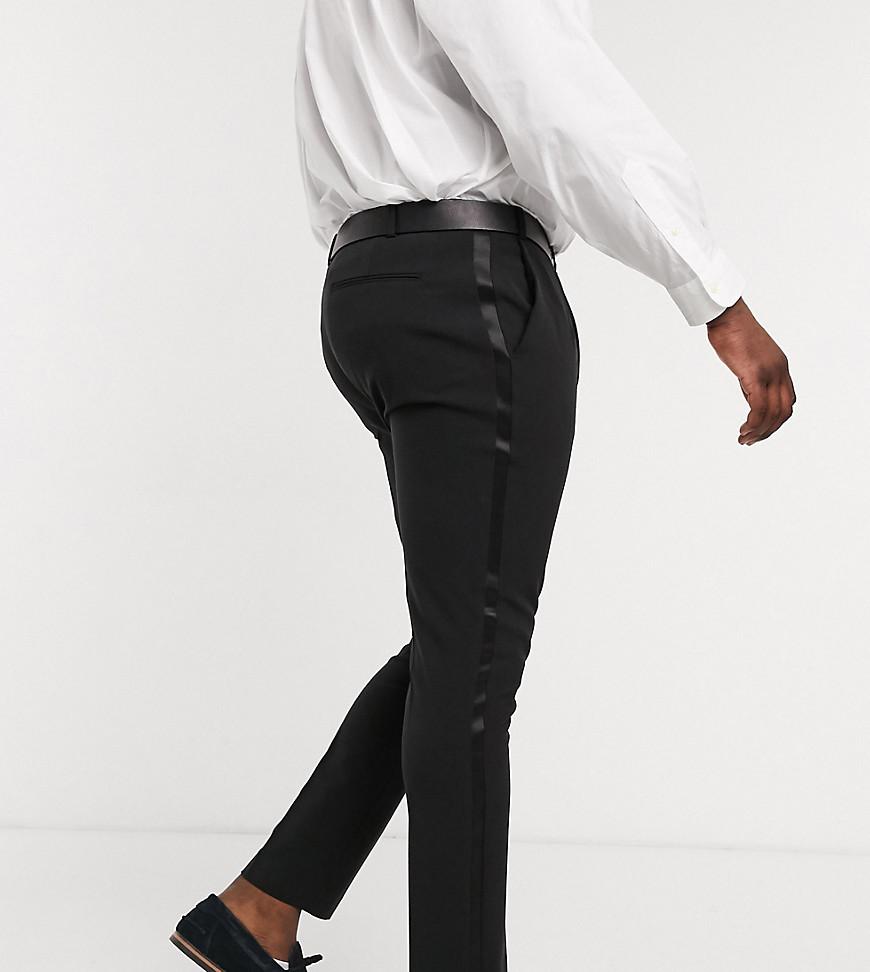 ASOS DESIGN Plus super skinny tuxedo suit trousers in black