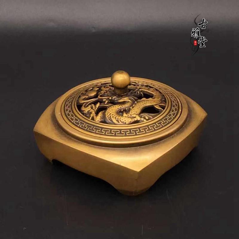 古玩雜項銅器純銅香爐復古乾隆年制四方香爐熏香爐精鑄黃銅香爐1入