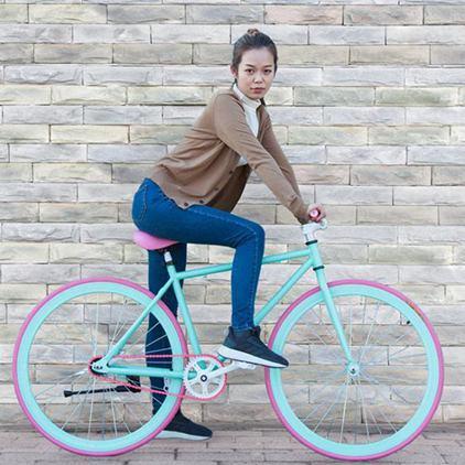死飛自行車單車倒騎倒剎車熒光賽車復古炫彩成人男女學生實心胎全館促銷限時折扣
