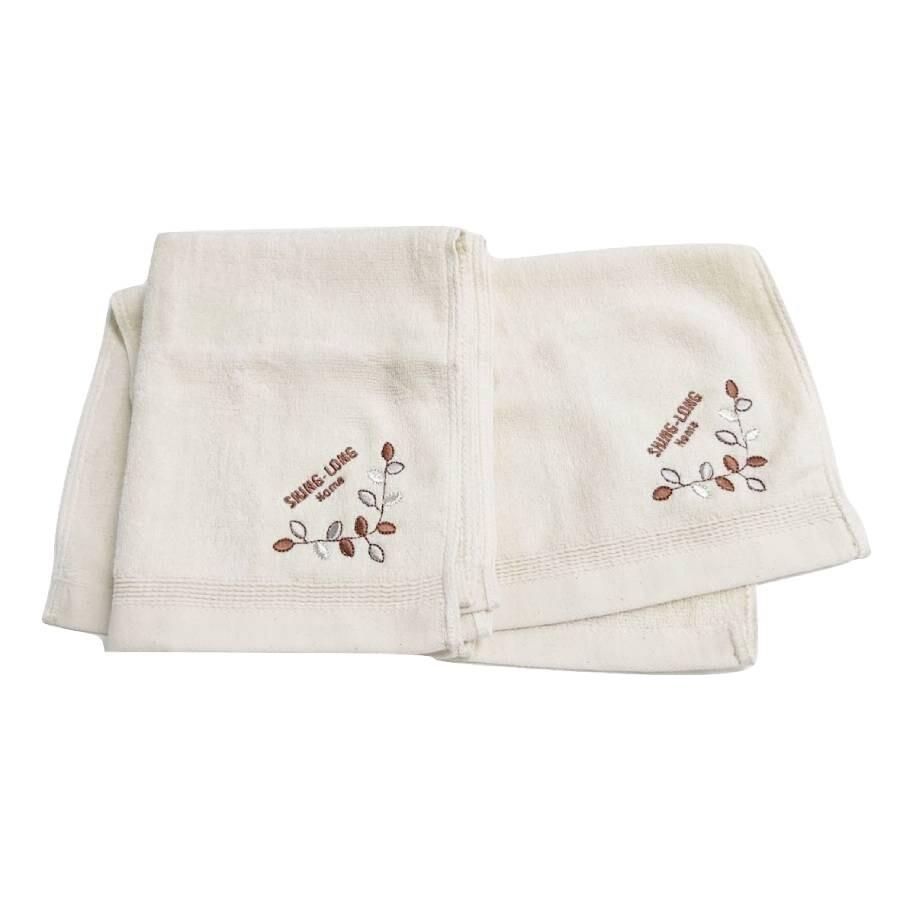 台灣興隆毛巾有機棉繡葉子毛巾 2入單色