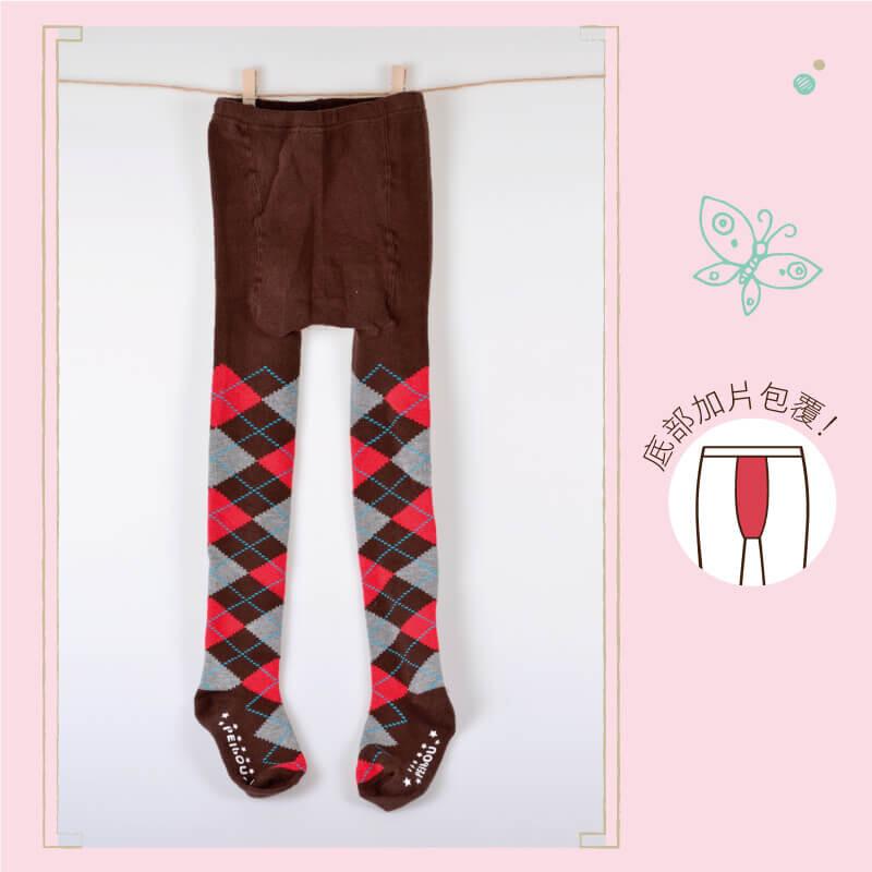貝柔台灣製兒童精梳棉保暖褲襪(菱格)