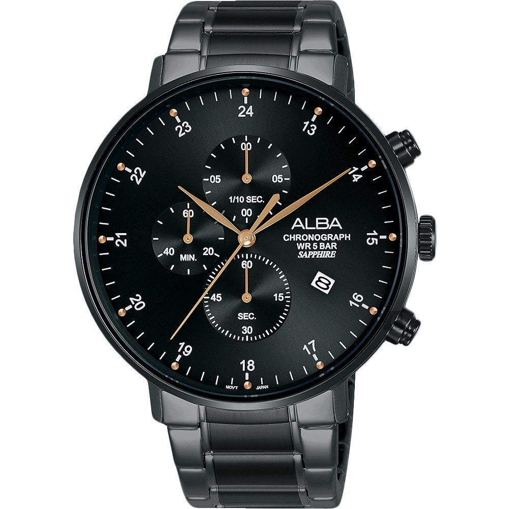 ALBA 雅柏 主張自我原創計時手錶-黑/44mm  VD57-X146SD(AM3665X1)