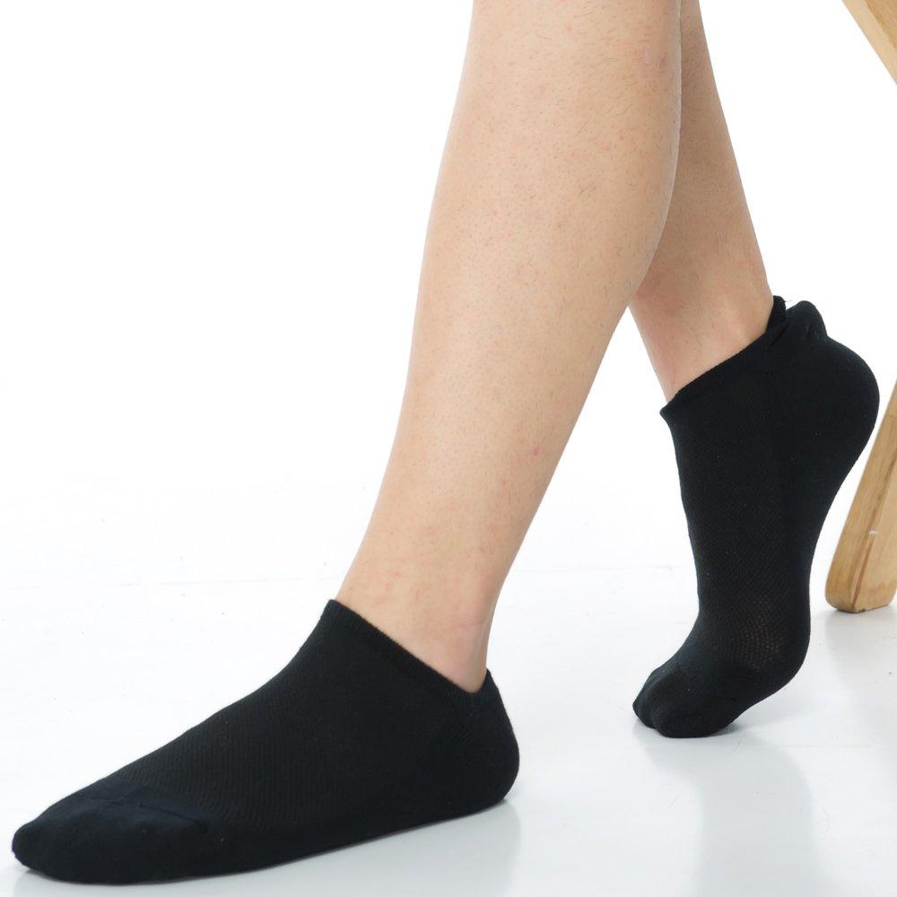 【KEROPPA】可諾帕細針毛巾底氣墊加大船襪x4雙(男女適用)C91001-黑色
