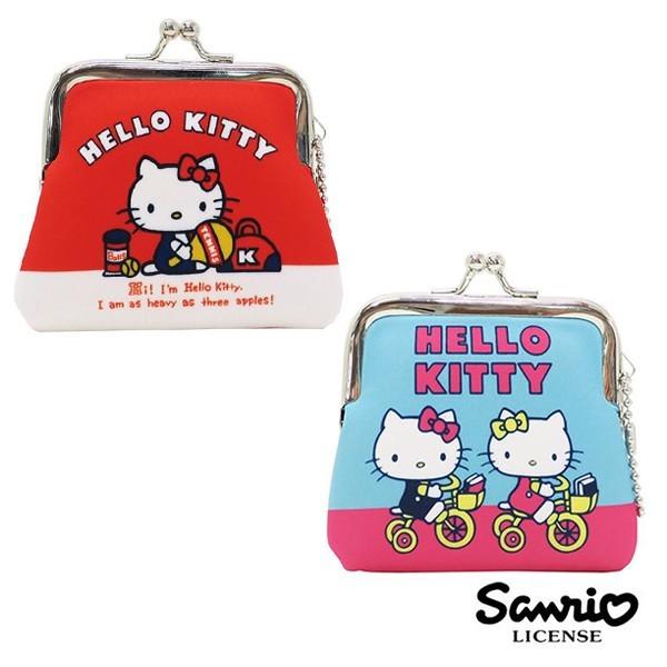 藍色款  凱蒂貓 hello kitty 小型 防震棉 珠扣包 零錢包 三麗鷗 439484