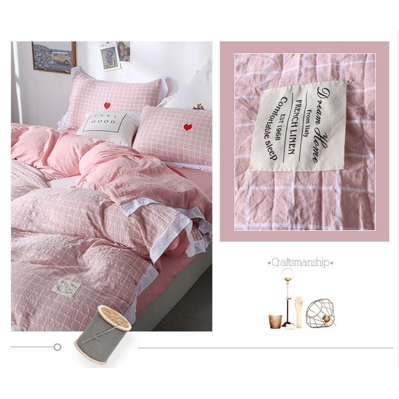 一件免運 簡約1.2m裸睡親膚床單三件套 1.8m公主風水洗棉被套 少女心床上四件套夏