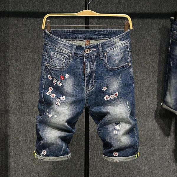 夏季薄款刺繡個性牛仔短褲男修身直筒彈力中褲時尚中國風繡花褲子  降價兩天