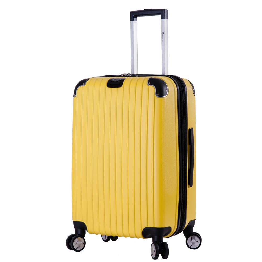 DF travel - 升級版多彩記憶玩色硬殼可加大閃耀鑽石紋28吋行李箱-黃色