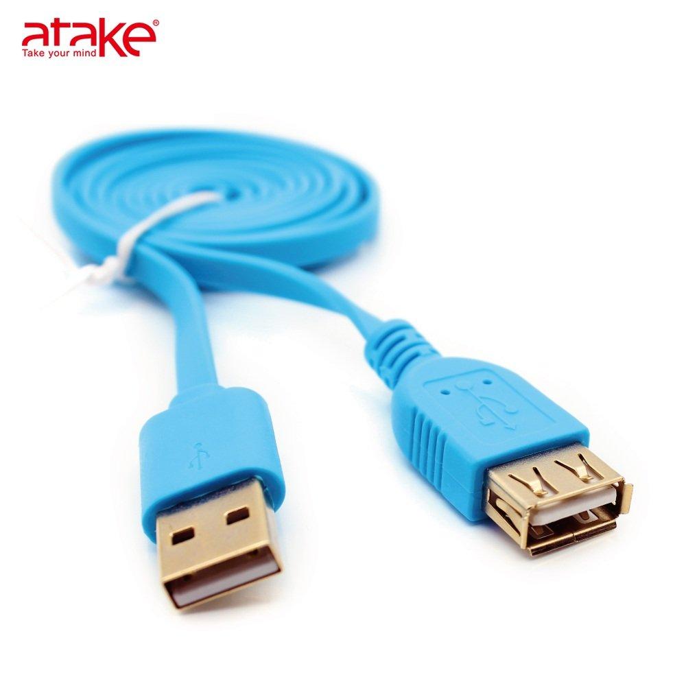 【ATake】- USB 2.0 A公-A母鍍金頭 扁線2米(藍) AUK-FLAMAF02-BL