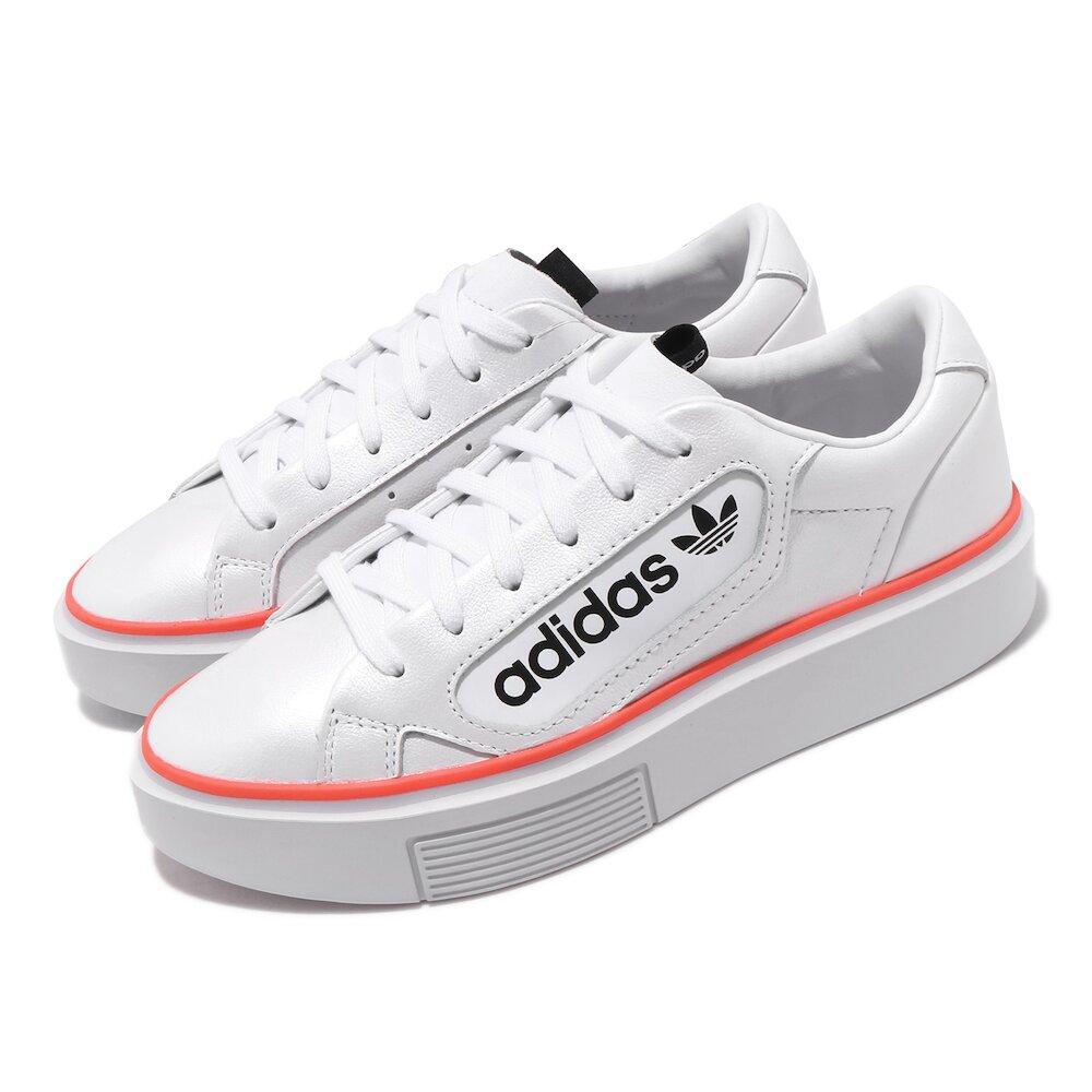 ADIDAS 休閒鞋 Sleek Super W 厚底 女鞋 愛迪達 三葉草 帆布鞋 皮革 流行穿搭 白 黑 [EF4956]
