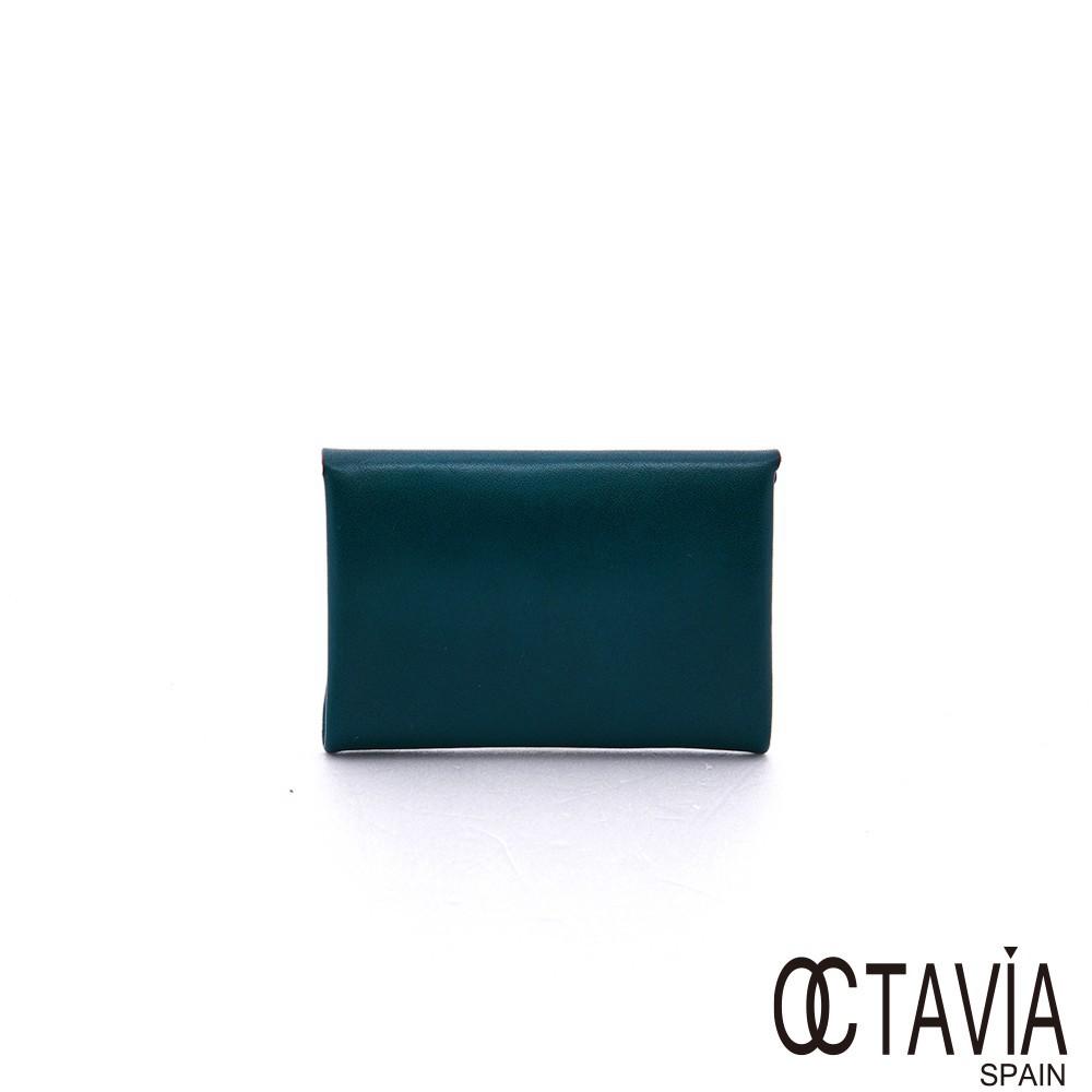 OCTAVIA8 真皮巴掌大信封式卡片小小零錢包 - 月暈藍 廠商直送 現貨