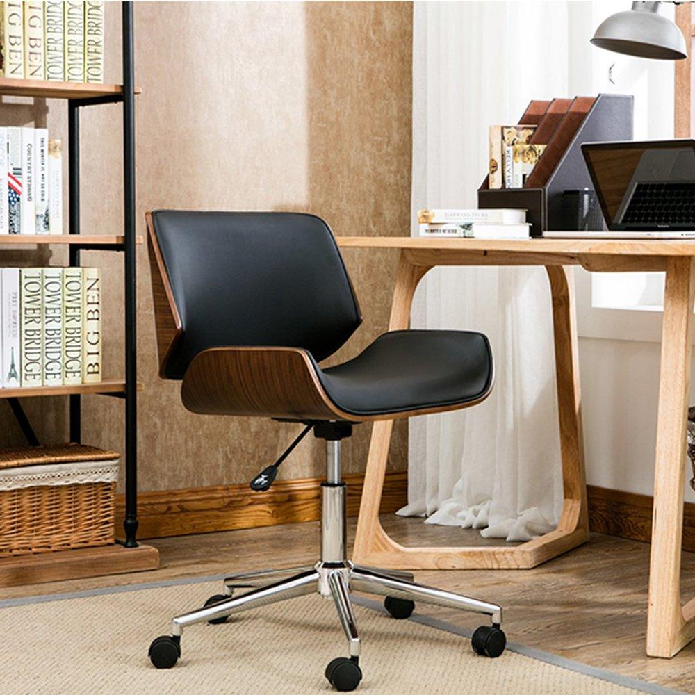 E-home Edgar埃德加可調式曲木電腦椅-黑色