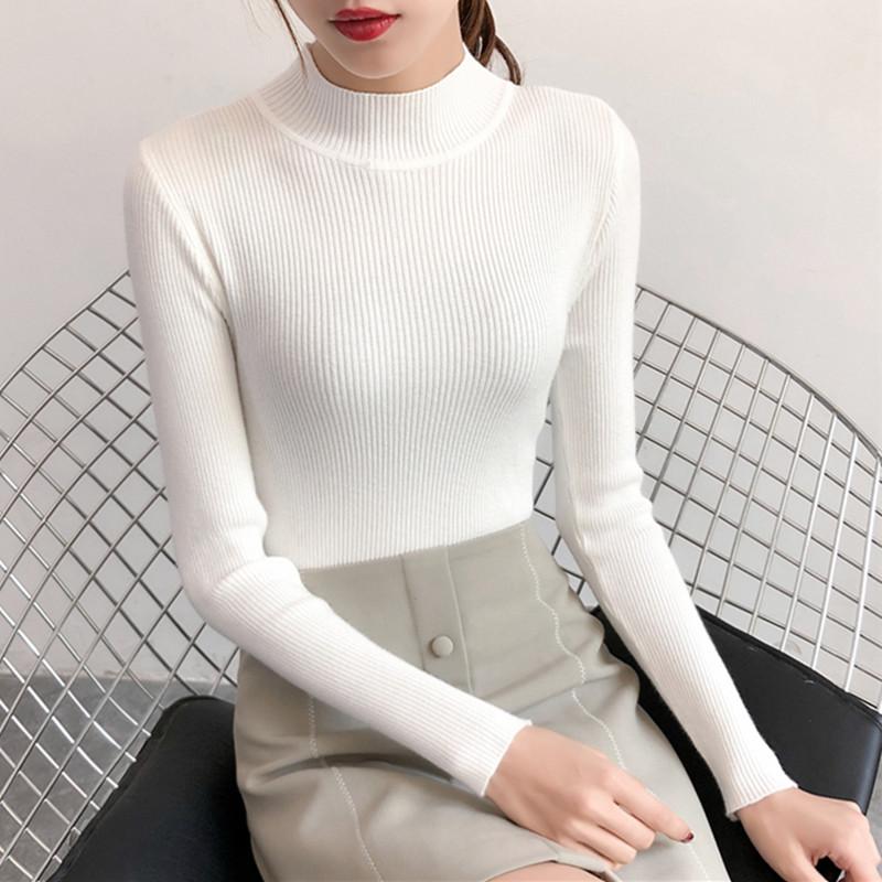 【現貨】中高領長袖毛衣打底衫合身針織衫女學生韓版秋冬裝新款內搭長袖上衣