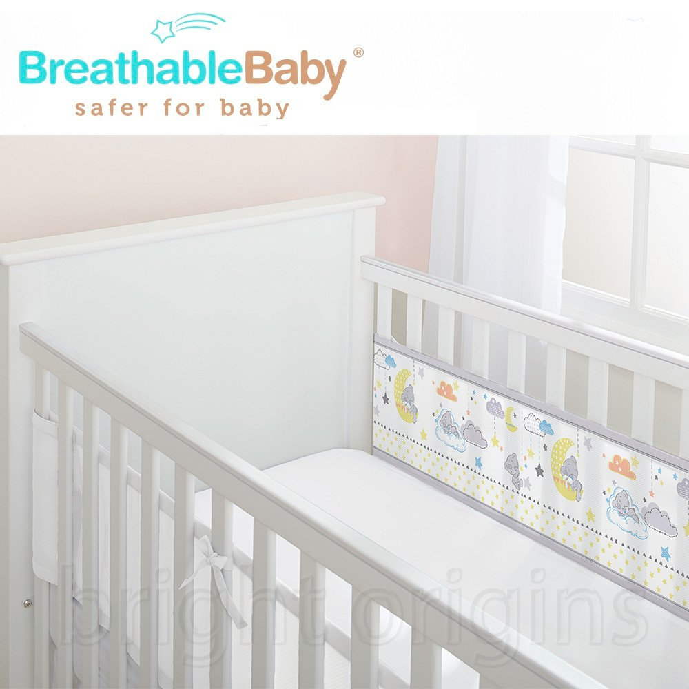 英國 BreathableBaby 透氣嬰兒床圍 兩側型 (19436晚安小熊)