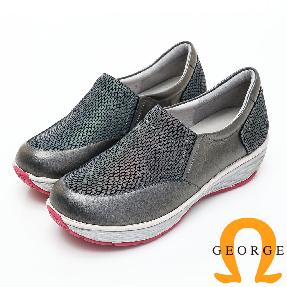 GEORGE 喬治-素面變色拼接厚底休閒鞋-鐵灰色 934009EU-94