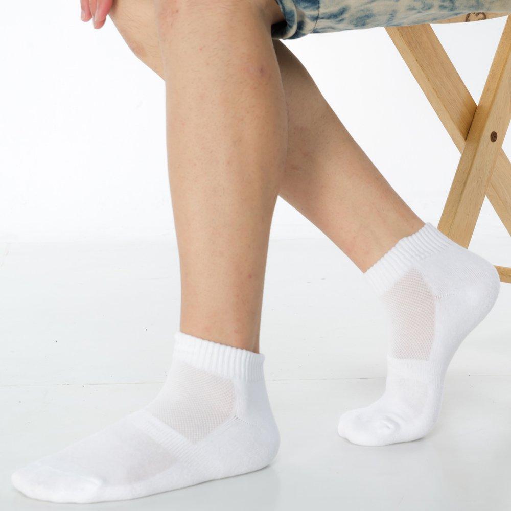 【KEROPPA】可諾帕細針毛巾底氣墊束底男短襪x4雙C91002  D白