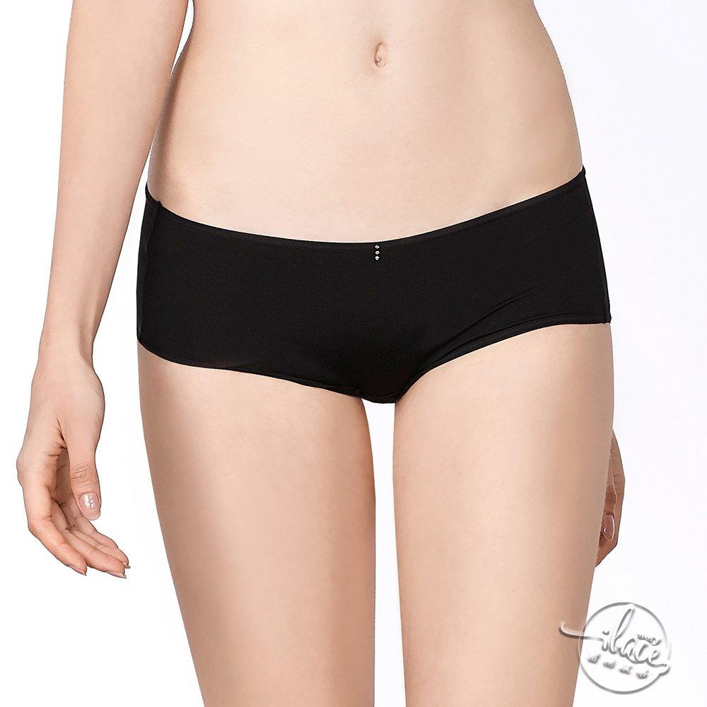 LADY 夢幻W系列 蕾絲中低腰平口內褲(時尚黑)