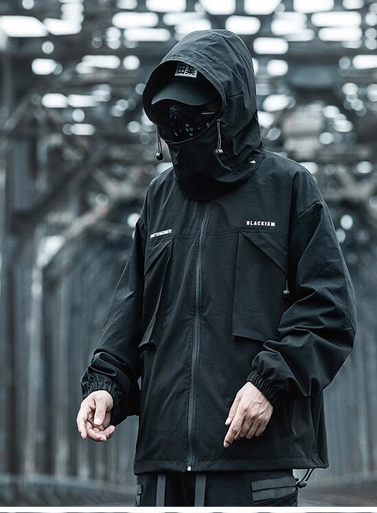FINDSENSE X 男士沖鋒衣男春寬松潮牌連帽夾克暗黑工裝外套