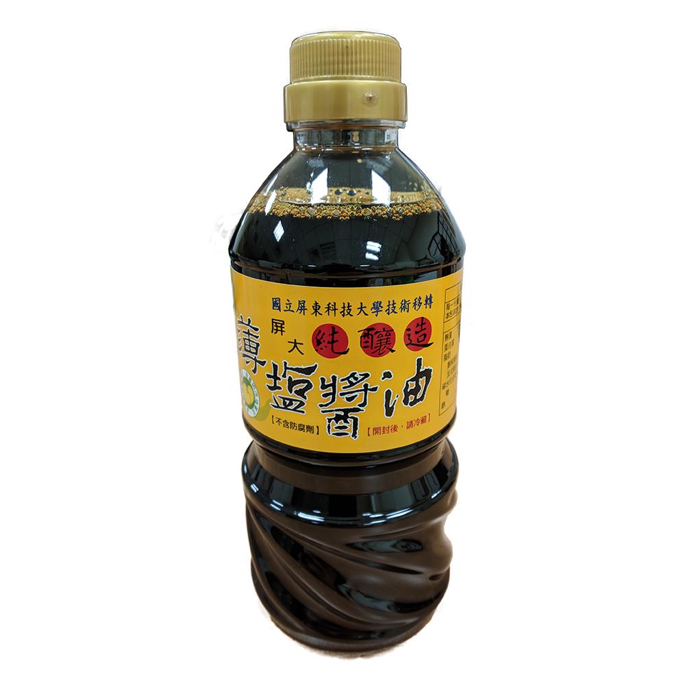 台灣特產 屏科大純釀造非基改薄鹽醬油 4瓶 (560ML/瓶)