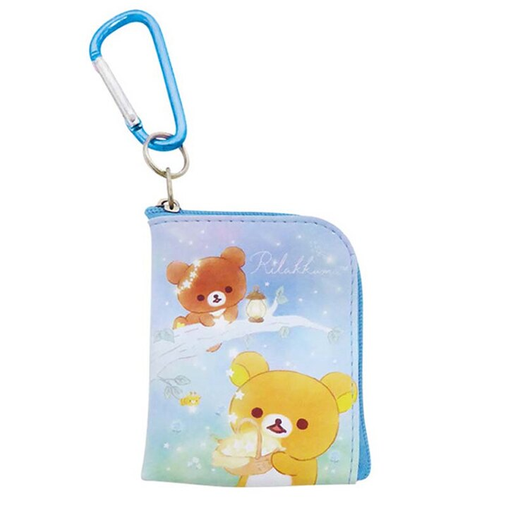 【領券折$30】小禮堂 懶懶熊 迷你方形皮質零錢包 吊飾零錢包 小物包 耳機包 (藍棕 星空)