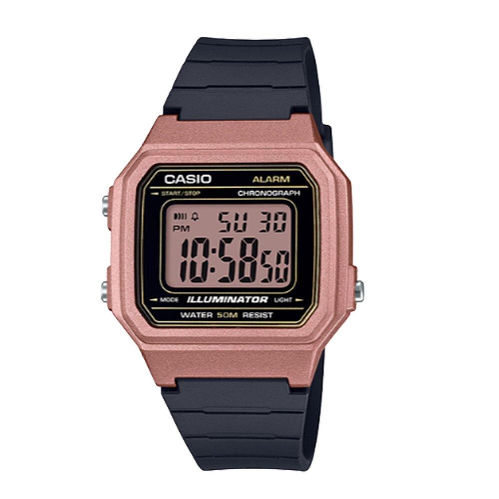 【CASIO 卡西歐】復古機能電子錶 橡膠錶帶 玫瑰金 自動月曆 生活防水(W-217HM-5A)