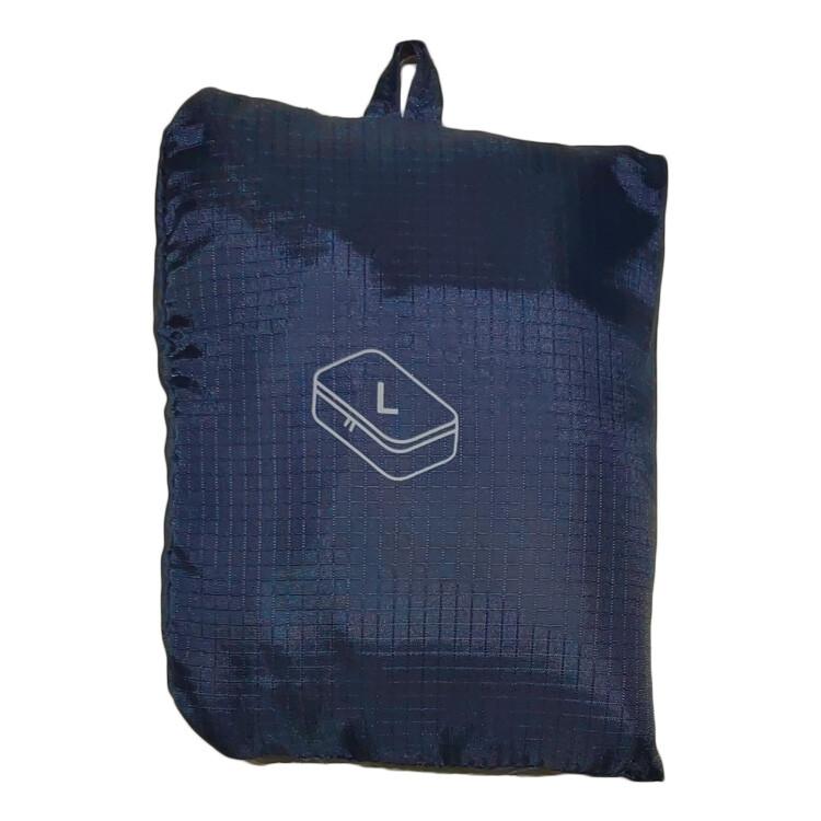 olina日系格紋防水旅行可折收納袋-深藍色-l